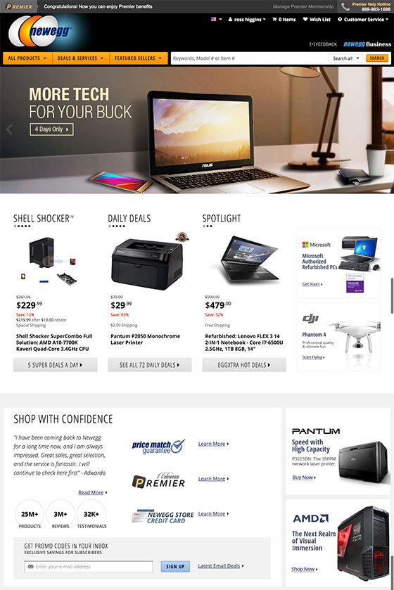 Screenshot of the complete redesign of newegg.com home page