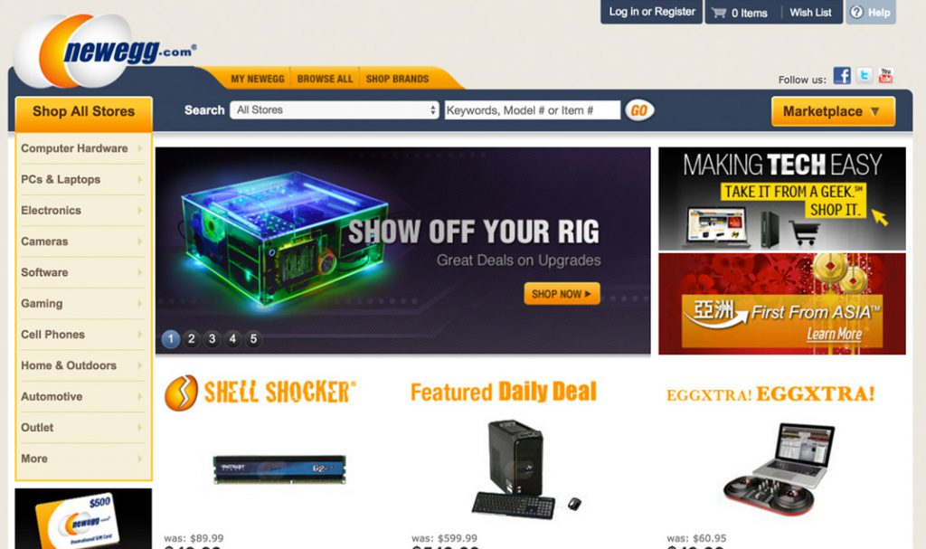 Newegg Homepage Design 2012