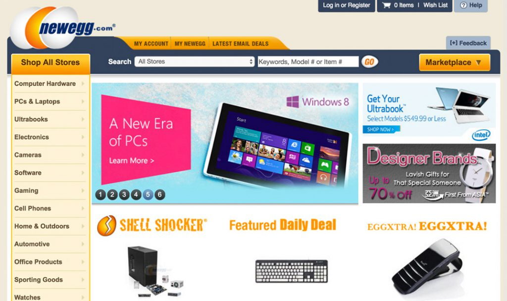 Newegg Homepage Design 2013