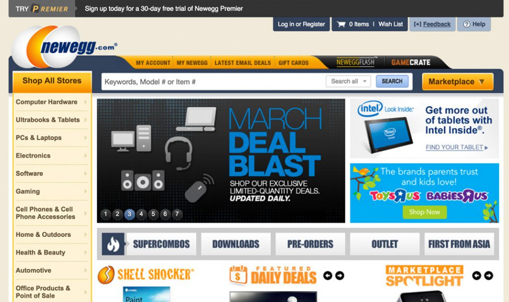 Newegg Homepage Design 2014