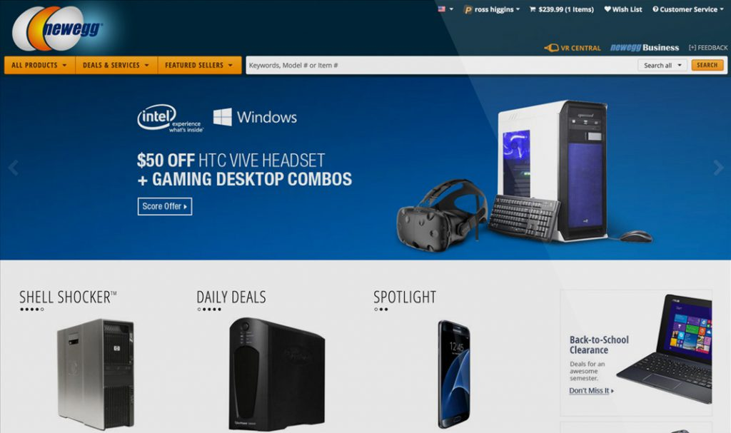 Newegg Homepage Design 2016